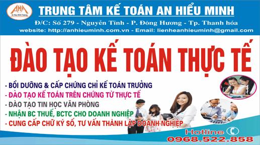An Hiểu Minh - Trung tâm Đào tạo KẾ TOÁN - TIN HỌC thực tế tốt nhất tại Thanh Hóa